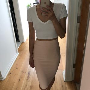 BCBG light peach/pink bandage high waist skirt